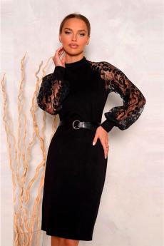 Черное платье с кружевными рукавами Open Style
